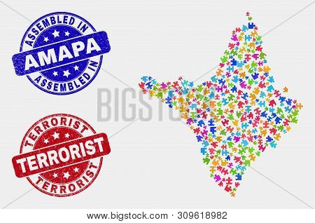 Bundle Amapa State Map And Blue Assembled Watermark, And Terrorist Grunge Seal Stamp. Colorful Vecto