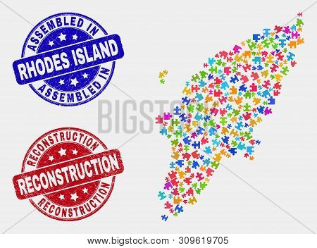 Constructor Rhodes Island Map And Blue Assembled Seal, And Reconstruction Grunge Seal Stamp. Bright