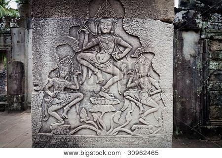 Carving Of Apsara Dancers Angkor Wat