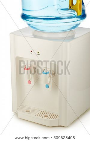 White water cooler with big blue plastic bottle full of purified water isolated on white background. Potable pure water. Water-cooler for office and home. Bottled watercooler