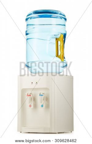 White water cooler with big blue plastic bottle full of purified water