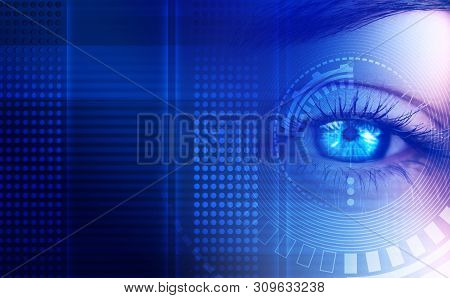 Eye Of The Female On A Dark Abstract Background, Neon Holograms, Retina Scanner