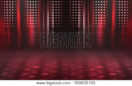 Empty Background Scene. Dark Reflection Of The Street On The Wet Asphalt. Rays Of Red Neon Light In