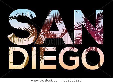 San Diego California Beach Design T Shirt, Retro Vintage Surf Tropical Illustration Of Summer San Di