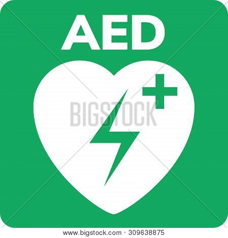 Aed Symbol Icon. Heart First Aid Defibrillator Sign. Automated External Device For Heart Attack Logo