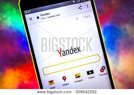 Berdyansk, Ukraine - March 26, 2019: Yandex Website Homepage. Yandex Logo Visible The Phone Screen.