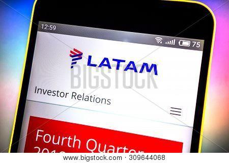 Berdyansk, Ukraine - March 27, 2019: Latam Airlines Website Homepage. Latam Airlines Logo Visible On