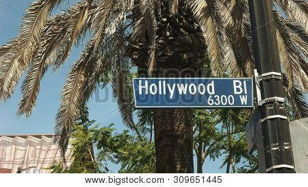 Close Up Of A Hollywood Blvd Sign In Los Angeles