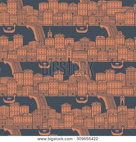 Vector Seamless Pattern With Old Hand Drawn Houses Along The Canals With Bridges And Gondolas. Citys