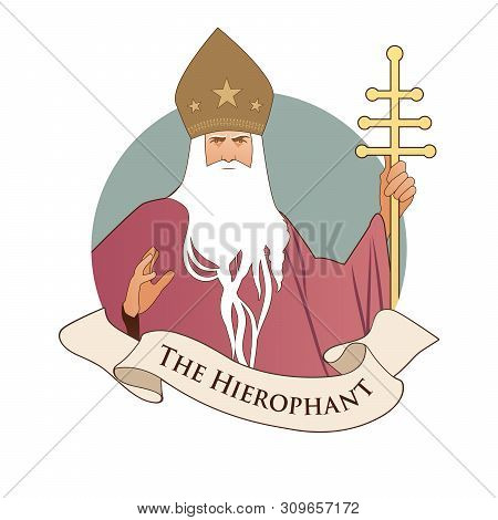 Major Arcana Emblem Tarot Card. The Hierophant. Pope With White Beard And Miter With Stars, Holding