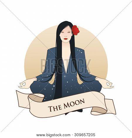 Major Arcana Emblem Tarot Card. The Moon. Beautiful Girl Meditating In Lotus Position And Full Moon