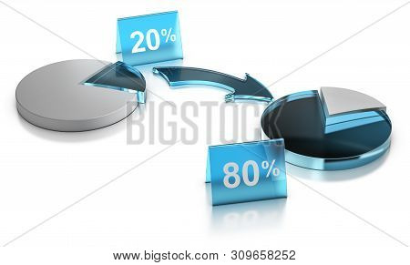 3d Illustration Of A Graphic Chart Of Pareto Principle Or Rule Of 80 20 Over White Background.