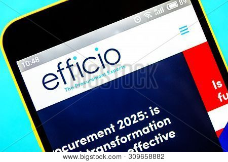 Berdyansk, Ukraine - April 6, 2019: Illustrative Editorial Of Efficio Website Homepage. Efficio Logo