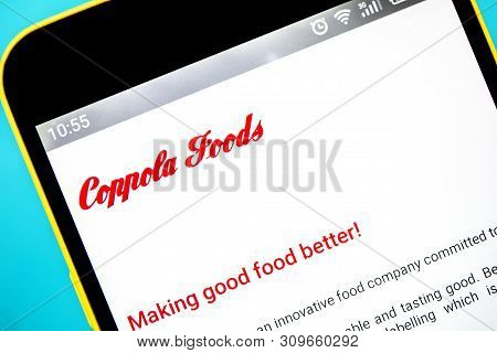 Berdyansk, Ukraine - April 6, 2019: Illustrative Editorial Of Coppola Foods Website Homepage. Coppol