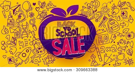 Back To School Sale Apple Symbol. Sketch Style Banner With Line Art Symbols Of Education, Science Ob