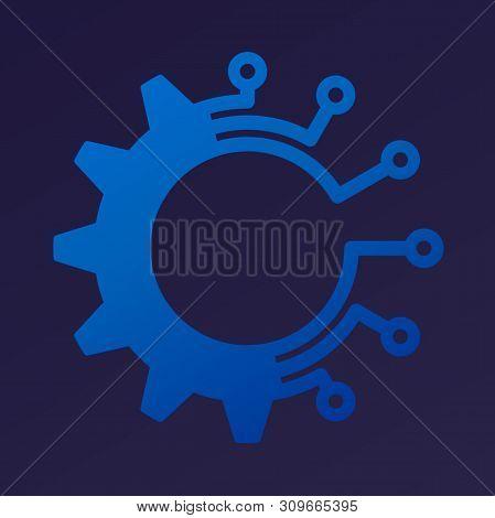 poster of Industry 4.0 metaphor. Digital gear transforming industry icon.