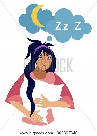 Insomnia. Girl Isolated On A White Background With A Pillow On His Hand. In Minimalist Style Cartoon