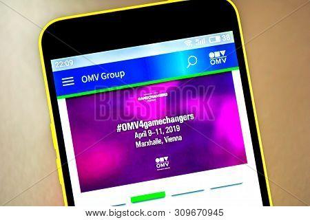 Berdyansk, Ukraine - April 9, 2019: Illustrative Editorial Of Omv Group Website Homepage. Omv Group