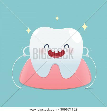 Brushing Teeth Flossing, Dental Floss, Illustration And Vector Design