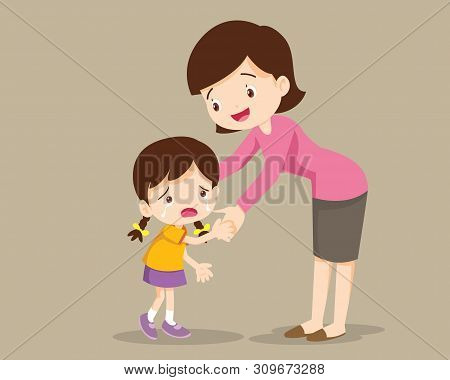 Mom Hugging Her Child Girl And Talking To Her. Mother Embracing Sad Little Daughter And Expressing L