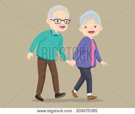 Elderly Couple Walking.old Senior Man And Woman Walking Together.grandfather Walking With Grandmothe