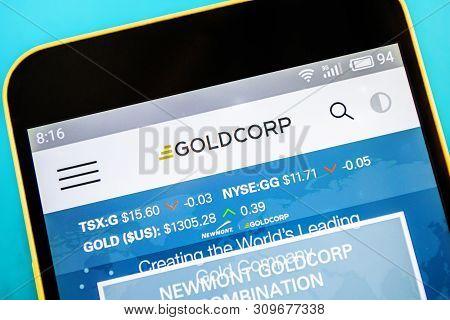 Berdyansk, Ukraine - April 10, 2019: Illustrative Editorial, Goldcorp Website Homepage. Goldcorp Log