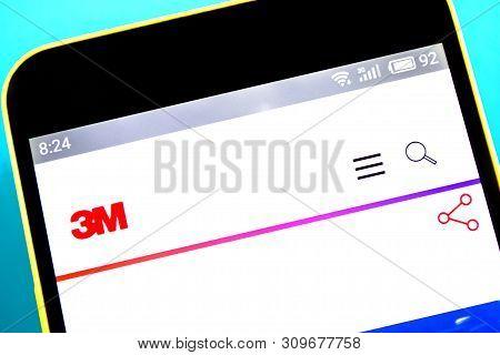 Berdyansk, Ukraine - April 10, 2019: 3m Website Homepage. 3m Logo Visible On The Phone Screen, Illus