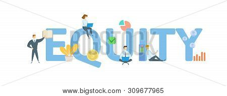 EQUITY. Concept with people, letters and icons. Flat vector illustration. Isolated on white background. poster
