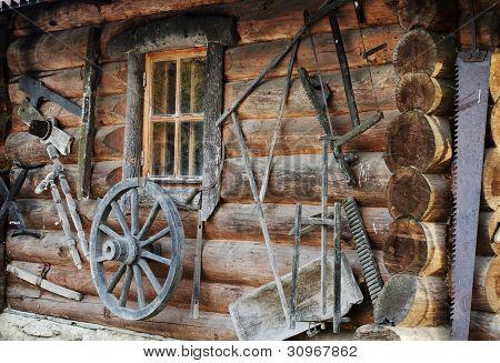 Facade of an ancient wooden log hut