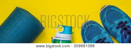 Banner, Long Format Everything For Sports Turquoise, Blue Shades On A Yellow Background. Yoga Mat, S