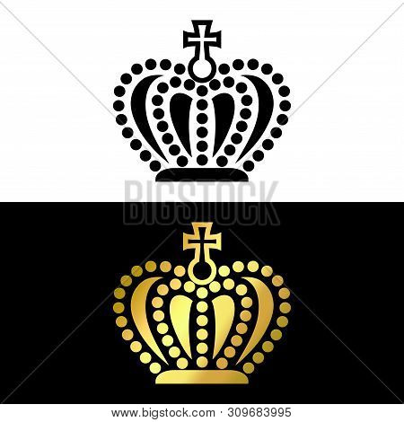 Crown Logo, Crown Icon Black And Gold Vector In Modern Flat Style For Web, Graphic And Mobile Design