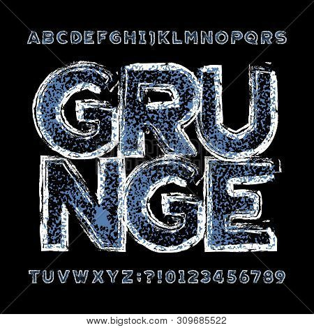 Damaged grunge alphabet font. Rough uppercase letters and numbers. Vector typescript for your design. poster