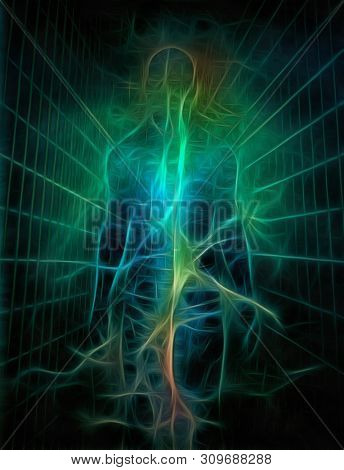 Surreal painting. Human's silhouette with rays of light. Energy or Soul. 3D rendering