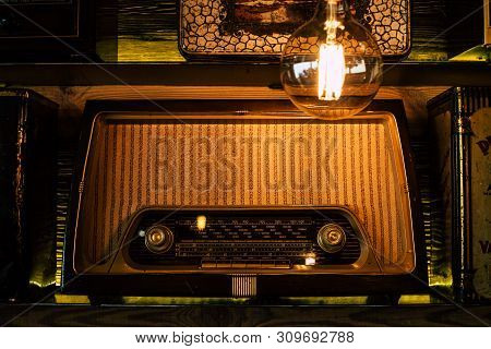 Old Vintage Radio Station On A Shelf As Decoration