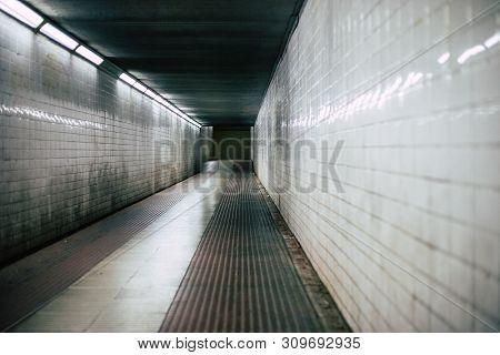 Dark Hallway Tunnel Scary Corridor Perspective Shot