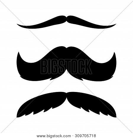 Mustache Collection. Black Silhouette Of The Mustache Set Isolated On White. Vintage Engraving Styli