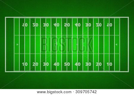 Top Views Of American Football Field. Green Grass Pattern For Sport Background. Ragby Football Field