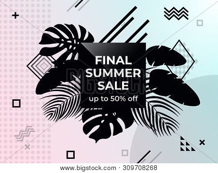 Final Summer Sale. Abstract Background In Memphis Style. Black And White Web Banner. Poster Sale. Te