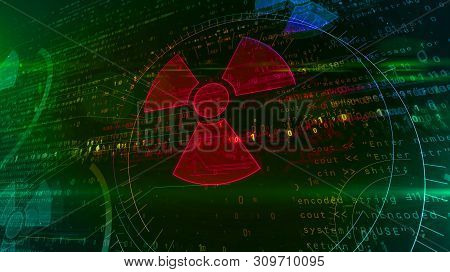 Cyber War With Nuclear Symbol Hologram Intro On Futuristic Background. Modern Concept Of Nuclear Pow
