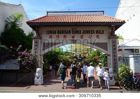 Melaka, Malaysia - 25 Jun, 2019: View Of Jonker Walk World Heritage Park Along Jonker Street, Melaka
