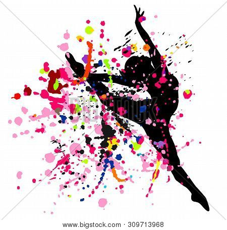 Beautiful Dancing Girl In Bright Multicolored Splatters.