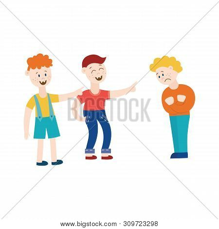 Teens Or Schoolboys Offends A Classmate Flat Vector Illustration Isolated On White.