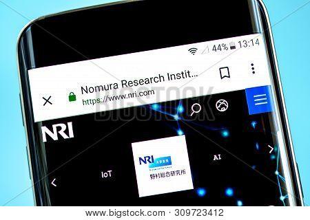 Berdyansk, Ukraine - 14 June 2019: Nri Website Homepage. Nomura Research Institute Logo Visible On T