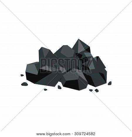 Black Coal Lump Piece, Fuel Mine Industry And Energy Resource Icon, Shiny Cartoon Rock Pile With Str