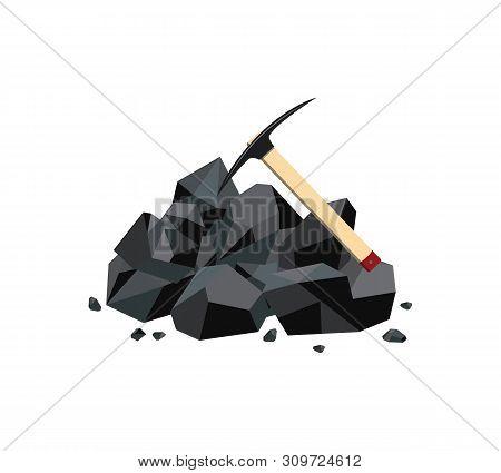 Coal Mine Icon With Black Mineral Rock Lump And Pickaxe. Fuel Mine Industry Resource And Carbon Ener