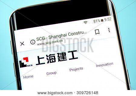 Berdyansk, Ukraine - 14 June 2019: Shanghai Construction Website Homepage. Shanghai Construction Log