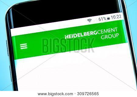 Berdyansk, Ukraine - 14 June 2019: Heidelbergcement Website Homepage. Heidelbergcement Logo Visible