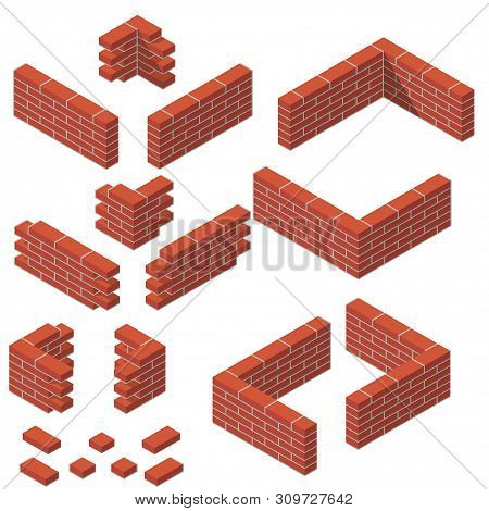 Brickwork Vector Set Of Isometric Masonry Blocks Items Masonry