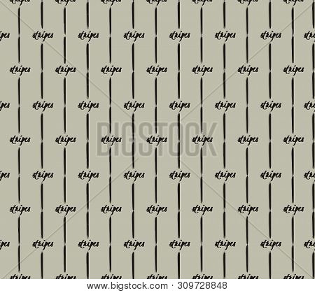 Inky Stripes . Inky Black Stripes And Text On Beige Background. Seamless Vector Pattern