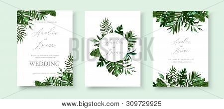 Wedding Greenery Tropical Exotic Floral Invitation Card Save The Date Design With Tropic Monstera Pa